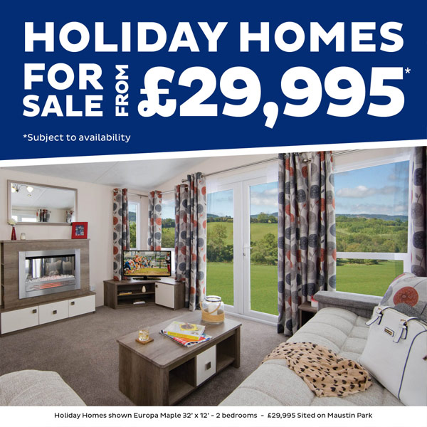 Holiday homes for sale from £29,995. Subject to availabilty and chosen holiday park. Holiday homes shown Europa Maple 32' x 12' - 2 bedrooms - £29,900, Sited on Maustin Park